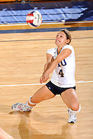 16 October 2010:  FIU libero Angelina Colon (4) digs the ball in the fourth set as the Western Kentucky Hilltoppers defeated the FIU Golden Panthers, 3-2 (25-19, 23-25, 25-20, 25-27, 15-13), at the U.S Century Bank Arena in Miami, Florida.