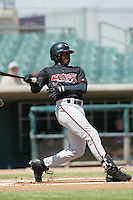 Kennard Jones of the Lake Elsinore Storm bats during a 2004 season California League game against the Lancaster JetHawks at The Hanger in Lancaster, California. (Larry Goren/Four Seam Images)