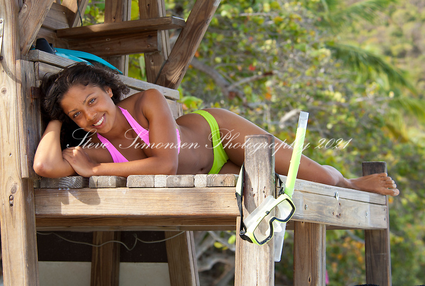 Alexa Putnam on the old lifeguard stand<br /> Trunk Bay<br /> Virgin Islands National Park<br /> St. John<br /> U.S. Virgin Islands