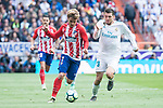 Real Madrid Mateo Kovacic and Atletico de Madrid Antoine Griezmann during La Liga match between Real Madrid and Atletico de Madrid at Santiago Bernabeu Stadium in Madrid, Spain. April 08, 2018. (ALTERPHOTOS/Borja B.Hojas)