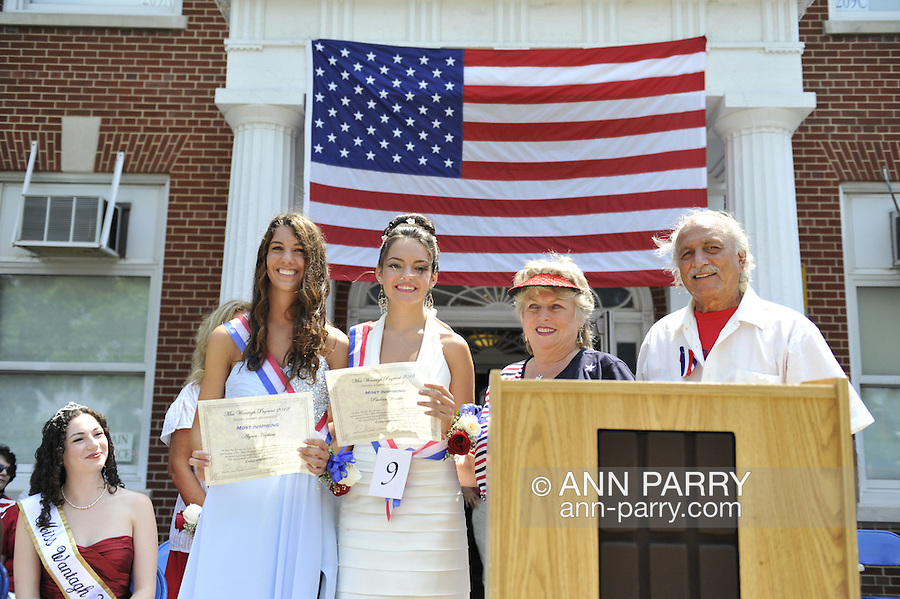 Miss Wantagh Pageant ceremony, a long-time Independence Day tradition on Long Island, is Wednesday, July 4, 2012, at Wantagh School, New York, USA. 2nd runner up was Paulina Renda (front center in white gown), and 3rd runner up was Alyson Hopkins (front left in blue gown). Since 1956, the Miss Wantagh Pageant, which is not a beauty pageant, has crowned a high school student based mainly on academic excellence and community service.