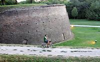 Ciclisti lungo le mura di Ferrara.<br /> Cyclists along the Walls of Ferrara.<br /> UPDATE IMAGES PRESS/Riccardo De Luca