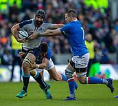 2nd February 2019, Murrayfield Stadium, Edinburgh, Scotland; Guinness Six Nations Rugby Championship, Scotland versus Italy; Josh Strauss of Scotland hands off to Braam Steyn of Italy