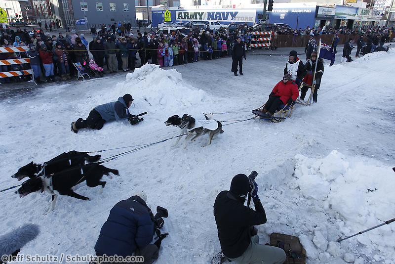 New Zealand musher Bob Storey leaves the start line on 4th avenue during the ceremonial start of the 2011 Iditarod in Anchorage, Alaska