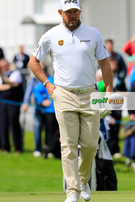 Lee Westwood (ENG) on the 9th green during Saturday's Round 3 of the 2016 Dubai Duty Free Irish Open hosted by Rory Foundation held at the K Club, Straffan, Co.Kildare, Ireland. 21st May 2016.<br /> Picture: Eoin Clarke | Golffile<br /> <br /> <br /> All photos usage must carry mandatory copyright credit (&copy; Golffile | Eoin Clarke)