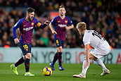 2nd February 2019, Camp Nou, Barcelona, Spain; La Liga football, Barcelona versus Valencia; Lionel Messi of FC Barcelona challenges takes on Wass of Valencia CF