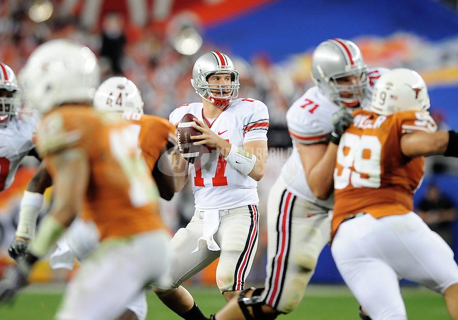 Jan. 5, 2009; Glendale, AZ, USA; Ohio State Buckeyes quarterback (17) Todd Boeckman against the Texas Longhorns during the Fiesta Bowl at the University of Phoenix Stadium. Mandatory Credit: Mark J. Rebilas-