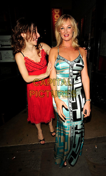 "ELENA ROGER & KATHERINE KINGSLEY .At the ""Piaf"" Press Night, Donmar Warehouse theatre, London, England, August 13th 2008..full length blue black print dress red long maxi .CAP/CAN.©Can Nguyen/Capital Pictures"