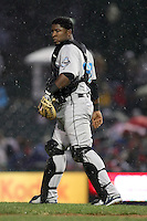 April 11th 2008: Catcher Robinzon Diaz of the Syracuse Chiefs, Class-AAA affiliate of the Toronto Blue Jays, during a game at Frontier Field in Rochester, NY.  Photo by Mike Janes/Four Seam Images