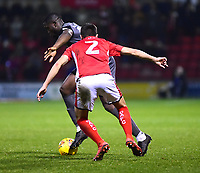 Lincoln City's John Akinde battles with  Crewe Alexandra's Perry Ng<br /> <br /> Photographer Andrew Vaughan/CameraSport<br /> <br /> The EFL Sky Bet League Two - Crewe Alexandra v Lincoln City - Wednesday 26th December 2018 - Alexandra Stadium - Crewe<br /> <br /> World Copyright &copy; 2018 CameraSport. All rights reserved. 43 Linden Ave. Countesthorpe. Leicester. England. LE8 5PG - Tel: +44 (0) 116 277 4147 - admin@camerasport.com - www.camerasport.com