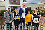 Ballygarry House Hotel and the HSE launching the new Aphasia Friendly Menu on Thursday morning<br /> Front l to r: Máire Murphy (Senior Speech and Language Therapist, HSE Tralee), Linda Stack, Rimantas Romaska (Ballygarry House Hotel),  Mary Carmody (Chair of the Kerry Stroke Support Group) and Noreen Murphy.