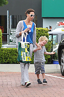Minnie Driver and her son Henry in Malibu