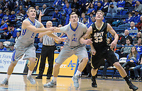 December 12, 2015 - Colorado Springs, Colorado, U.S. -  Falcons, Zach Kocur #5, and Zach Moer #41, control the lane during an NCAA basketball game between the Army West Point Black Knights and the Air Force Academy Falcons at Clune Arena, U.S. Air Force Academy, Colorado Springs, Colorado.  Army West Point defeats Air Force 90-80.