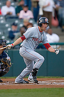 Bubba Bell #10 of the Portland Sea Dogs follows through on his swing versus the Trenton Thunder at Waterfront Park May 12, 2009 in Trenton, New Jersey. (Photo by Brian Westerholt / Four Seam Images)