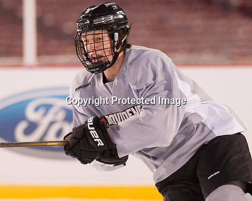 Brandon Duhaime (PC - 9) - The Providence College Friars practiced on the rink at Fenway Park on Friday, January 6, 2017.