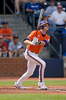 Ben Paulsen #10 of the Clemson Tigers follows through on his swing versus the Duke Blue Devils at Durham Bulls Athletic Park May 22, 2009 in Durham, North Carolina.  (Photo by Brian Westerholt / Four Seam Images)