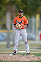 Baltimore Orioles pitcher Branden Kline (89) during a Minor League Spring Training game against the Boston Red Sox on March 20, 2018 at Buck O'Neil Complex in Sarasota, Florida.  (Mike Janes/Four Seam Images)