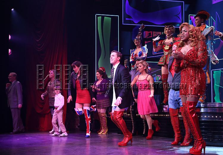 "Jake Shears, Kirstin Maldonado and Wayne Brady during the Curtain Call for Wayne Brady's return to ""Kinky Boots"" on Broadway on March 5, 2018 at the Hirschfeld Theatre in New York City."
