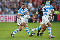 Agustin Creevy of Argentina passes the ball. Rugby World Cup Pool C match between Argentina and Georgia on September 25, 2015 at Kingsholm Stadium in Gloucester, England. Photo by: Patrick Khachfe / Onside Images