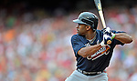 22 July 2012: Atlanta Braves outfielder Michael Bourn in action against the Washington Nationals at Nationals Park in Washington, DC. The Braves fell to the Nationals 9-2 splitting their 4-game weekend series. Mandatory Credit: Ed Wolfstein Photo