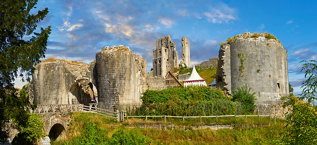 Medieval Corfe castle keep at sunrise, built in 1086 by William the Conqueror, Dorset England