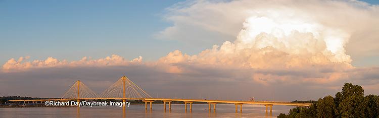 63895-15504 Clark Bridge over Mississippi River and thunderstorm (Cumulonimbus Cloud) Alton, IL