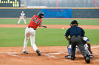 20 August 2007: #21 Jakub Hajtmar connects for a hit during the Czech Republic 6-1 victory over France in the Good Luck Beijing International baseball tournament (olympic test event) at the Wukesong Baseball Field in Beijing, China.