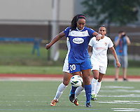 Boston Breakers midfielder Mariah Noguiera (20) controls the ball. In a National Women's Soccer League (NWSL) match, Boston Breakers (blue) defeated Sky Blue FC (white), 3-2, at Dilboy Stadium on June 30, 2013.