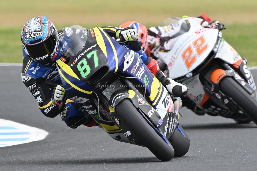 October 27, 2018: Remy Gardner (AUST) on the No.87 TECH 3 from Tech 3 Racing during the Moto2 practice session three at the 2018 MotoGP of Australia at Phillip Island Grand Prix Circuit, Victoria, Australia. Photo Sydney Low