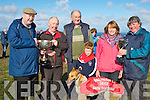 CHAMPION: Champion Dog Coolvakagh who won the Derby Trial Stakes & Moss Joe Browne Cup, at ballyheigue Coursing on Sunday L-r: Moss Joe Browne, Pat Horgan (owner), Tom O'Flaherty, Jack Horgan, Eileen O'Flaherty and Pat McElligott.