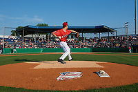 Batavia Muckdogs starting pitcher Jackson Rose (37) delivers a warmup pitch during a NY-Penn League game against the State College Spikes on July 3, 2019 at Dwyer Stadium in Batavia, New York.  State College defeated Batavia 6-4.  (Mike Janes/Four Seam Images)