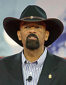 Former Sheriff of Milwaukee County, Wisconsin David Clarke speaks at the Conservative Political Action Conference (CPAC) at the Gaylord National Resort and Convention Center in National Harbor, Maryland on Friday, February 23, 2018.<br /> Credit: Ron Sachs / CNP