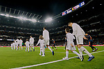 Real Madrid's Dani Carvajal, Raphael Varane and Toni Kroos during La Liga match between Real Madrid and Valencia CF at Santiago Bernabeu Stadium in Madrid, Spain. December 01, 2018. (ALTERPHOTOS/A. Perez Meca)