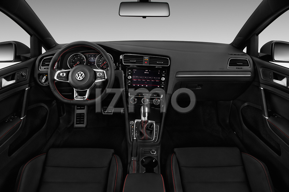 Stock photo of straight dashboard view of a 2018 Volkswagen Golf GTI SE 5 Door Hatchback