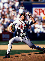 John Rocker of the Atlanta Braves participates in a baseball game at Qualcomm Stadium during the1998 season in San Diego, California. (Larry Goren/Four Seam Images)