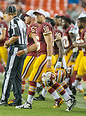 Washington Redskins quarterback Colt McCoy (16) leaves the sideline to shake hands with the Detroit Lions' players following his team's 21 - 17 victory at FedEx Field in Landover, Maryland on Thursday, August 20, 2015.<br /> Credit: Ron Sachs / CNP