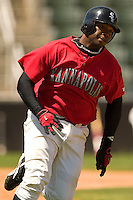 Kannapolis first baseman Brandon Allen rounds first on his way to second after hitting a double in the 7th inning versus Charleston at Fieldcrest Cannon Stadium in Kannapolis, NC, Monday, May 1, 2006.
