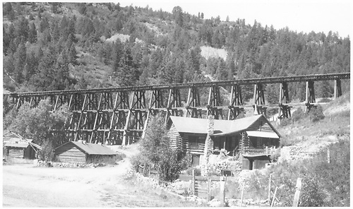 Wide angle view of bridge 22-A with Green Mountain Ranch headquarters in foreground.<br /> RGS  Leonard, CO  5/1947