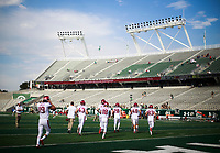NWA Democrat-Gazette/CHARLIE KAIJO Arkansas Razorbacks special teams players enter the field before a football game, Saturday, September 8, 2018 at Colorado State University in Fort Collins, Colo.