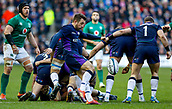 9th February 2019, Murrayfield Stadium, Edinburgh, Scotland; Guinness Six Nations Rugby Championship, Scotland versus Ireland; Greig Laidlaw (Scotland Captain) clears his lines