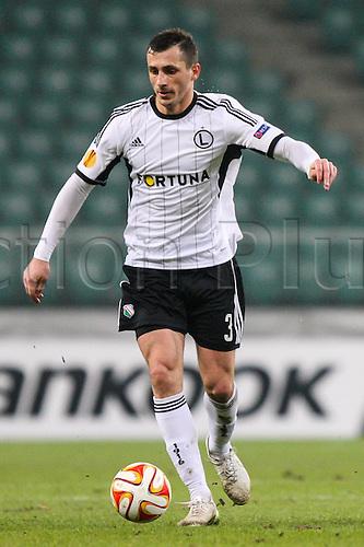 26.02.2015. Warsaw, Poland. Europa League football. Legia Warsaw versus Ajax.  Tomasz Jodlowiec (Legia)