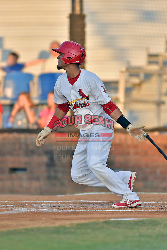 Johnson City Cardinals shortstop Allen Cordoba (50) swings at a pitch during Game Two of the Appalachian League Championship series against the Burlington Royals at TVA Credit Union Ballpark on September 7, 2016 in Johnson City, Tennessee. The Cardinals defeated the Royals 11-6 to win the series 2-0.. (Tony Farlow/Four Seam Images)