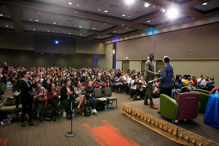 Johnny LaSalle greets Tarell Alvin McCraney at An Evening with Tarell Alvin McCraney, Friday, April 21, 2017 in the Lincoln Park Student Center. (Photo by Diane M. Smutny)