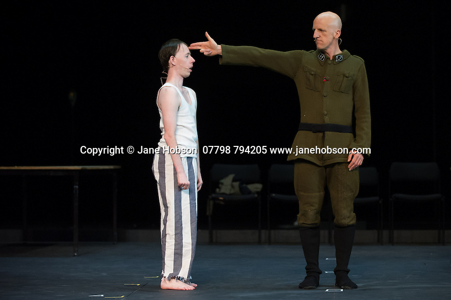 Edinburgh, UK. 09.08.2014.  GANESH VERSUS THE THIRD REICH, presented by Australian company, Back to Back Theatre, opens at the Royal Lyceum Theatre, as part of the Edinburgh International Festival. Picture shows: Simon Laherty and David Woods. Photograph © Jane Hobson.