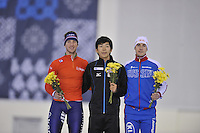 SPEED SKATING: SALT LAKE CITY: 20-11-2015, Utah Olympic Oval, ISU World Cup, Podium 1500m Men B-Division, Jan Blokhuijsen (NED), Takuro Oda (JPN), Sergey  Gryaztsov (RUS), ©foto Martin de Jong