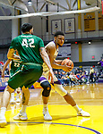 University at Albany men's basketball defeats Binghamton University 71-54  at the  SEFCU Arena, Feb. 27, 2018.  Alex Foster (#34) in the paint on Willie Rodriguez (#42). (Bruce Dudek / Cal Sport Media/Eclipse Sportswire)