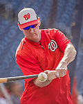 22 May 2015: Washington Nationals Manager Matt Williams taps out grounders during batting practice prior to a game against the Philadelphia Phillies at Nationals Park in Washington, DC. The Nationals defeated the Phillies 2-1 in the first game of their 3-game weekend series. Mandatory Credit: Ed Wolfstein Photo *** RAW (NEF) Image File Available ***