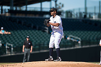 Mesa Solar Sox starting pitcher Gregory Soto (65), of the Detroit Tigers organization, gets ready to deliver a pitch during an Arizona Fall League game against the Glendale Desert Dogs at Sloan Park on October 27, 2018 in Mesa, Arizona. Glendale defeated Mesa 7-6. (Zachary Lucy/Four Seam Images)