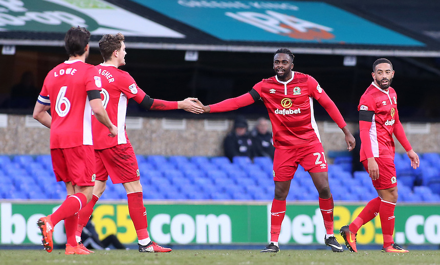 Blackburn Rovers' Hope Akpan is congratulated after scoring his sides equalising goal to make the score 1-1<br /> <br /> Photographer David Shipman/CameraSport<br /> <br /> The EFL Sky Bet Championship - Ipswich Town v Blackburn Rovers - Saturday 14th January 2017 - Portman Road - Ipswich<br /> <br /> World Copyright &copy; 2017 CameraSport. All rights reserved. 43 Linden Ave. Countesthorpe. Leicester. England. LE8 5PG - Tel: +44 (0) 116 277 4147 - admin@camerasport.com - www.camerasport.com