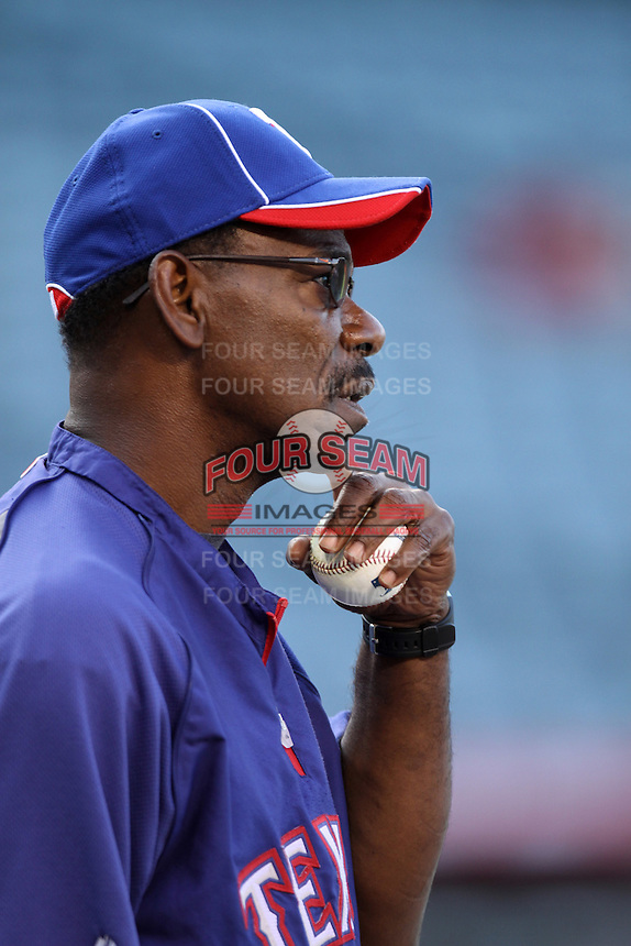 Texas Rangers Manager Ron Washington #38 before a game against the Los Angeles Angels at Angel Stadium on June 2, 2012 in Anaheim,California. Los Angeles defeated Texas 3-2.(Larry Goren/Four Seam Images)